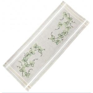 Ritad löpare gröna löv 40x100 cm