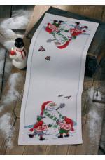 Räknad jullöpare  Tomtar och snögubbe 34x96cm