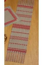 Räknad jullöpare  Rött på linne       26x125cm