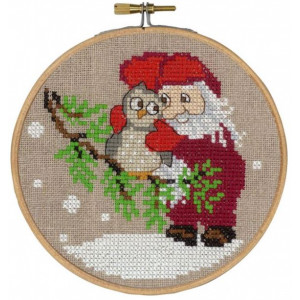 Jultavla      Tomte och uggla  13cm