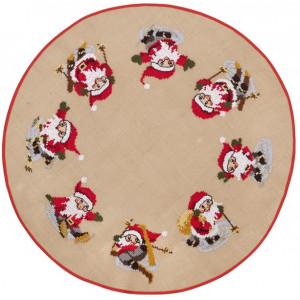 Julgransmatta att sy i ritade korsstygn Tomtar 100cm