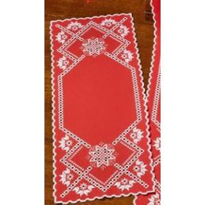 Hardanger       Vitt på rött    27x68cm
