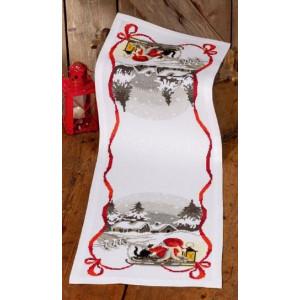Räknad jullöpare  Tomte och katt     34x100cm
