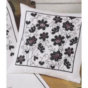 Kudde    Blommor i svart o lila              40x40cm