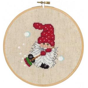 Jultavla      Tomte och kvast       18cm