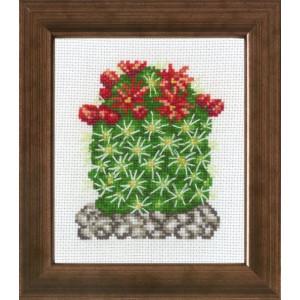 Tavla     Kaktus  röda blommor   10x12cm
