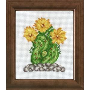 Tavla    Kaktus med gul blomma   10x12cm