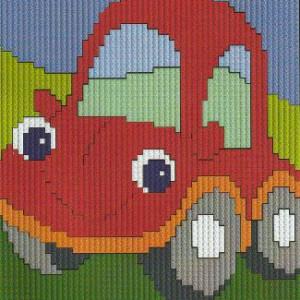 Långstygnstavla       Röd bil    10x10cm