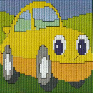 Långstygnstavla        Gul bil         10x10cm