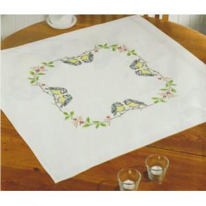 Ritad korsstygnsduk  Fåglar    80x80 cm utan garn