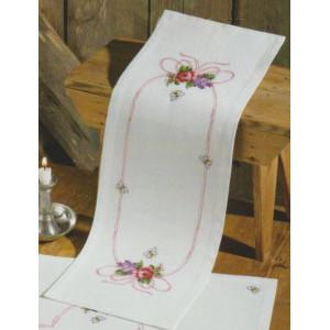Räknad löpare     blomster 24x68cm