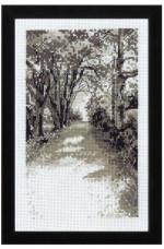 Tavla  landskap i grått   18x27cm