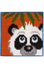 Målad stramalj Panda 25x25cm