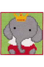 Målad stramalj Elefant 25x25cm