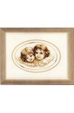 Tavla    Två små änglar        22x15cm