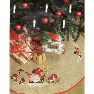 Julgransmatta Tomte att sy i ritade korsstygn 100cm