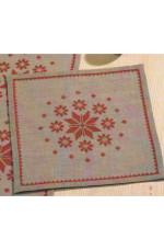 Räknad duk        Julstjärnor i rött       38x38cm
