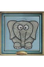 Målad stramalj        Elefant     14x14cm